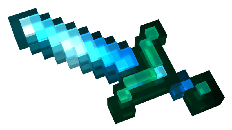 Diamond sword png. Minecraft cg render by