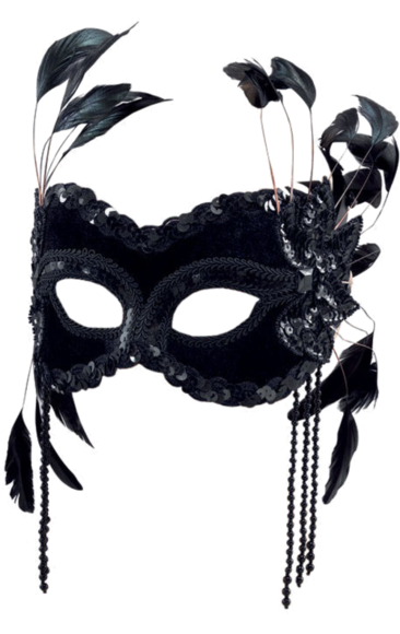 Diamonds and pearls masquerade ball mask png. Black velvet with feathers