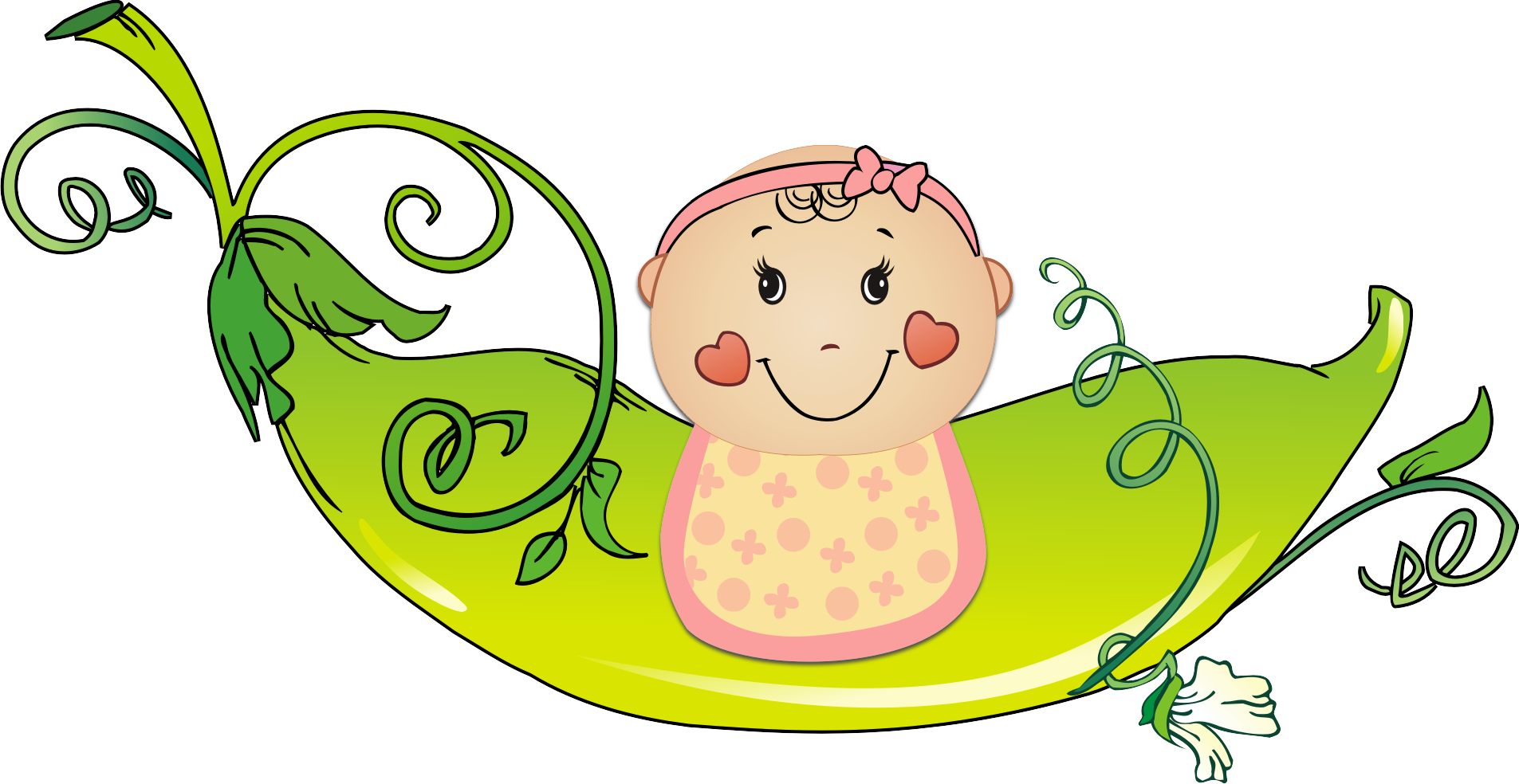 Diaper transparent baby girl. Shower pea twin clip