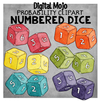 Dice clipart colored dice. Numbered d probability by