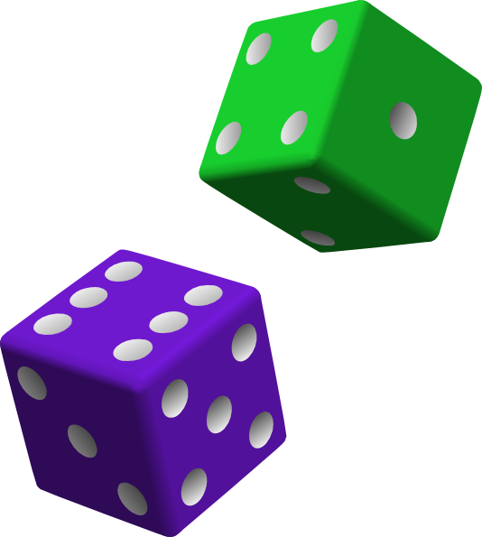 Dice png cartoon. Green and purple clip