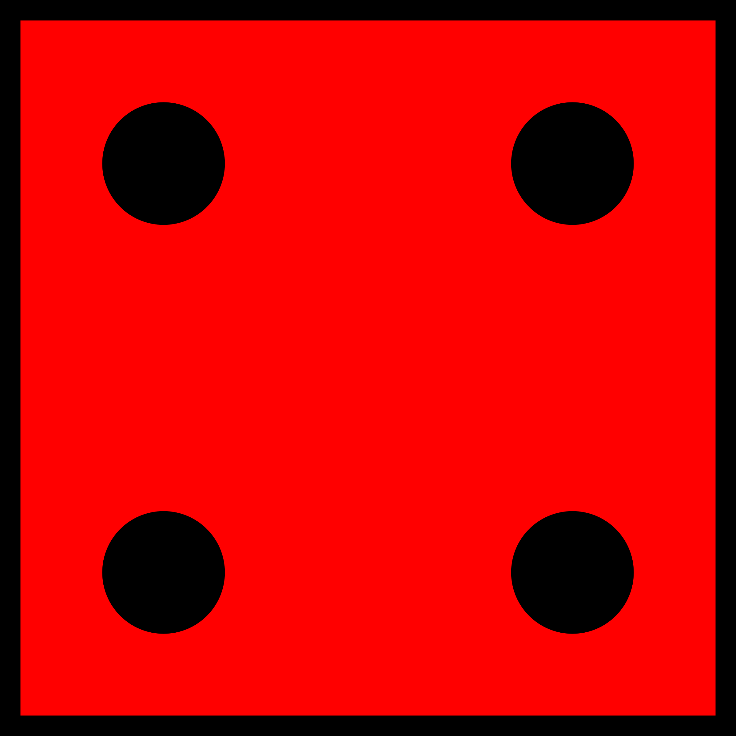Dice clipart number 4. Red die