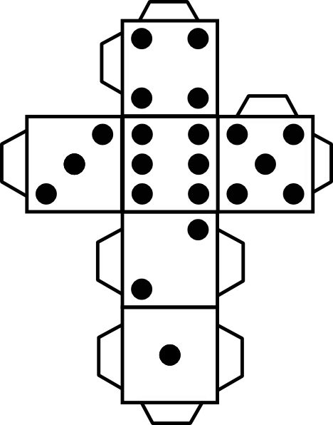 drawing dice six dot