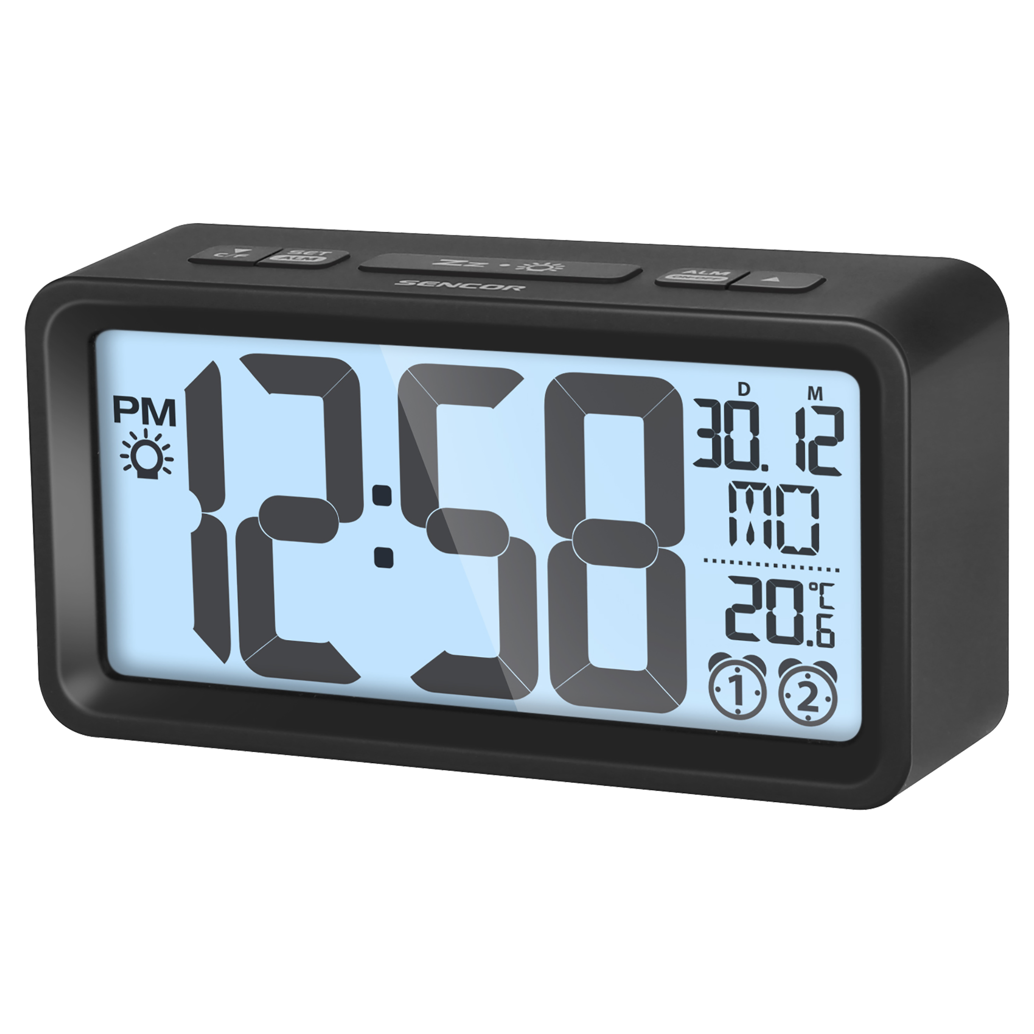 Digital alarm clock png. With thermometer sdc b