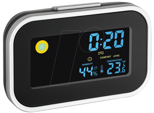 Digital alarm clock png. Tfa with indoor climate