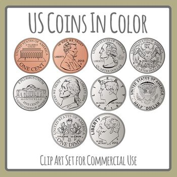 Us coins color cents. Pennies clipart quarter svg royalty free download