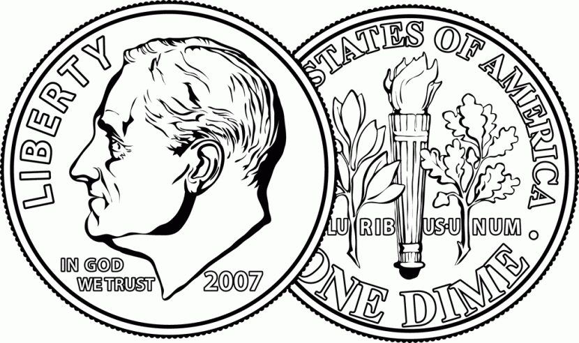Dime clipart american. Inspirational of black and