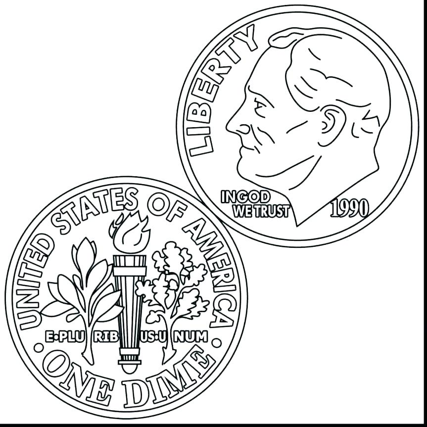Dime clipart black and white. Coin coloring page pages