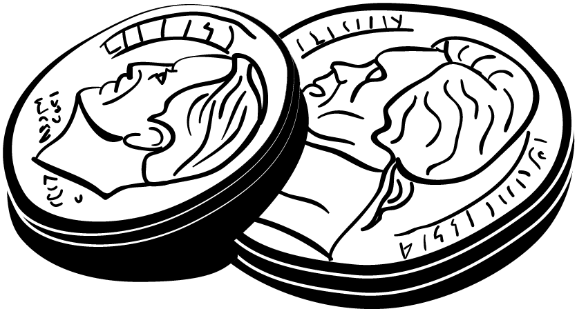 Dimes group book variety. Dime clipart cartoon image stock