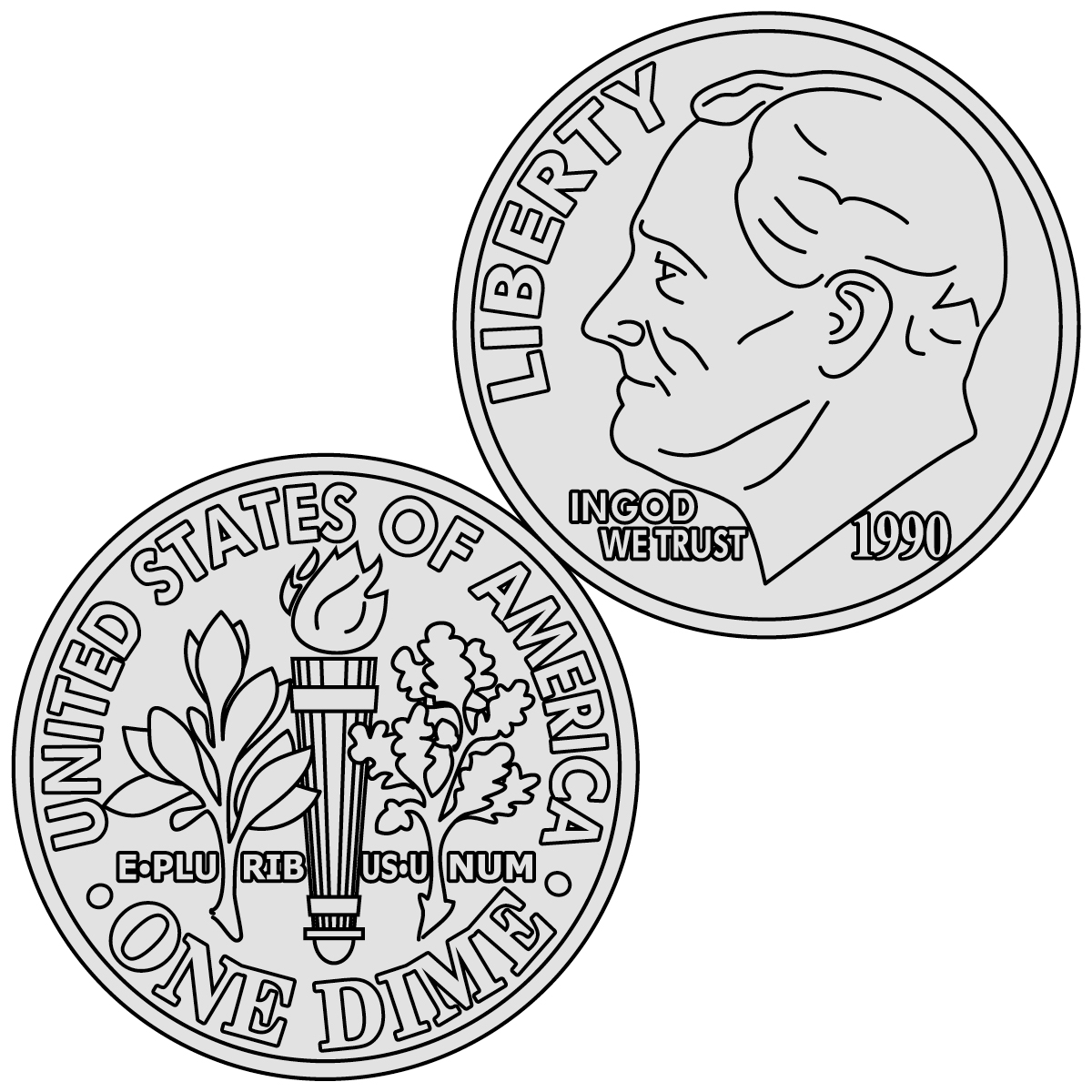 Money us coins . Dime clipart dime coin graphic black and white