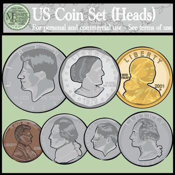 Us coins set heads. Dime clipart head tail graphic royalty free download