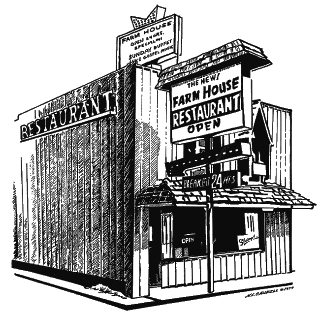 Diner drawing architectural. Farmhouse restaurant branson s