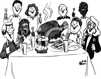 People at thanksgiving dinner. Feast clipart freeuse library