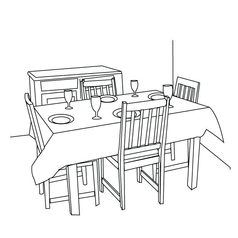 Dining clipart dining hall. Table black and white