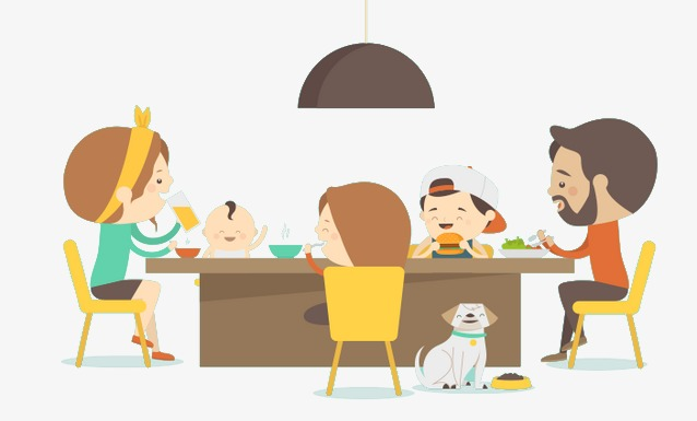 Dining clipart family style dining. Dinner table of five