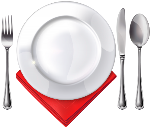 Dining clipart plate spoon fork. Knife and red napkin
