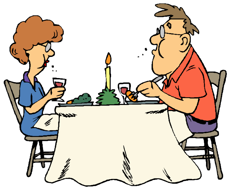 Restaurant clipart bistro. Dinner table with food