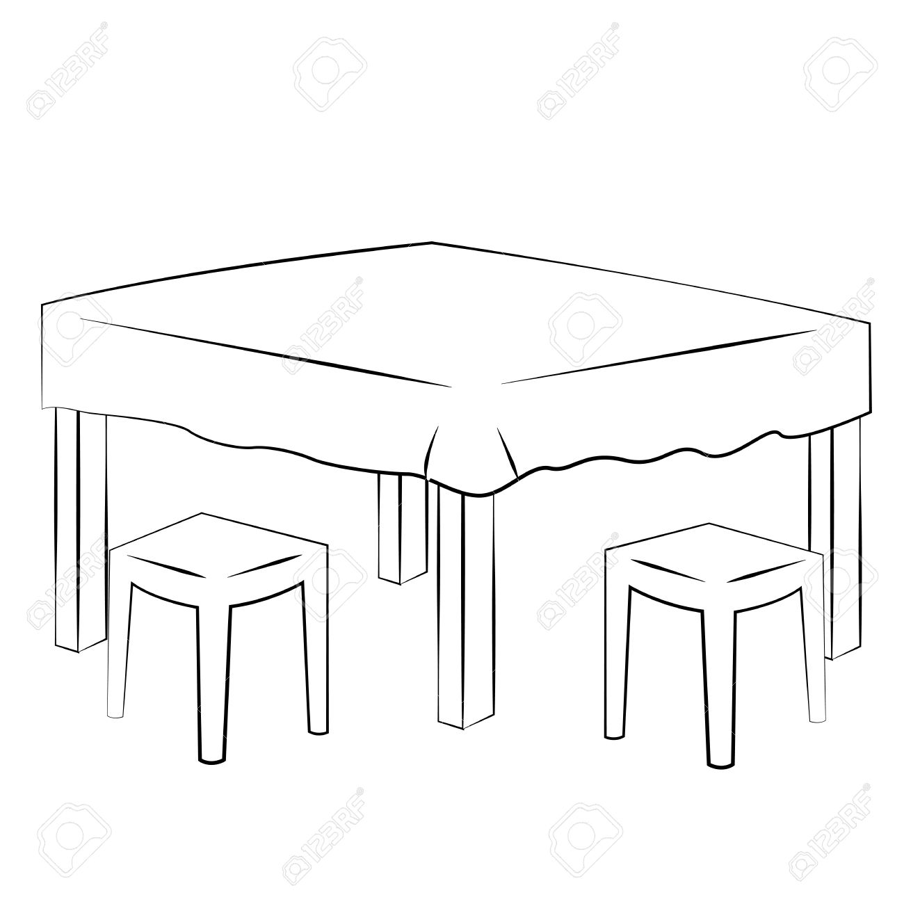 Dinner clipart dinner table. Dining black and white
