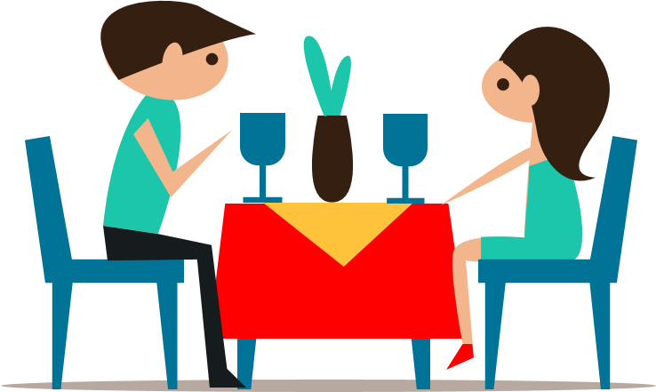 Dinner couple cartoon png. Table eating transprent free