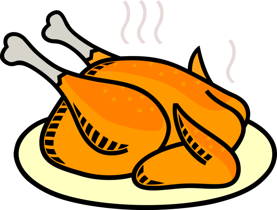 Dinner vector. Roast chicken image illustration