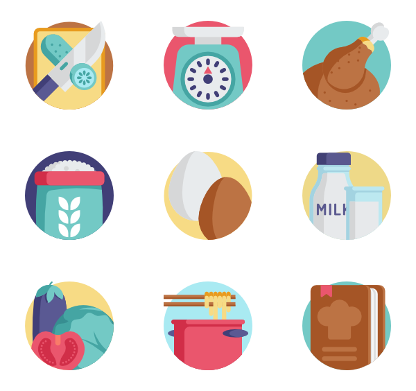 Dinner vector flat design. Icons free cooking