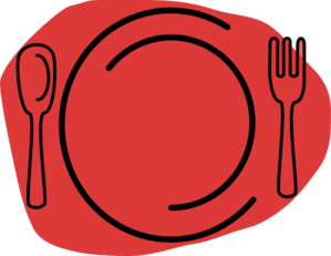 Dinner vector plate. Red clip art at