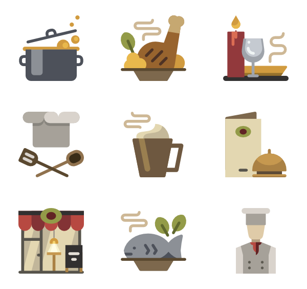 Dinner vector table top. Icons free restaurant