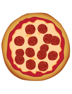 Dinner vector top view. Pepperoni pizza by toons