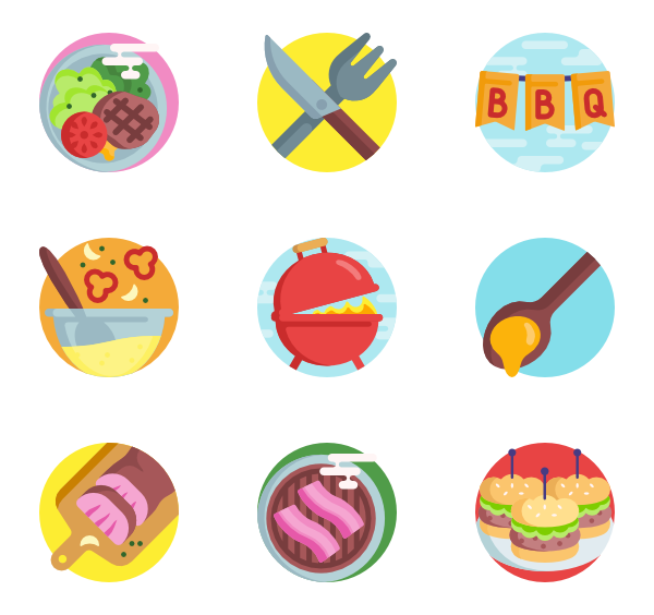 Dinner vector top view. Fork icons free bbq
