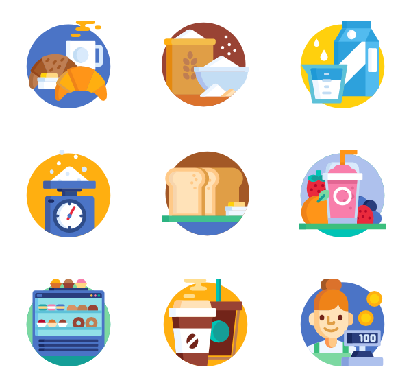Dinner vector top view. Cooking icons free bakery