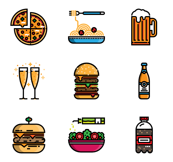 Dinner vector top view. Chicken icons free food