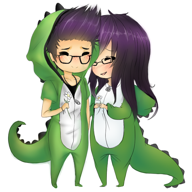 Dino couple png. Dinosaursss by catandrice on