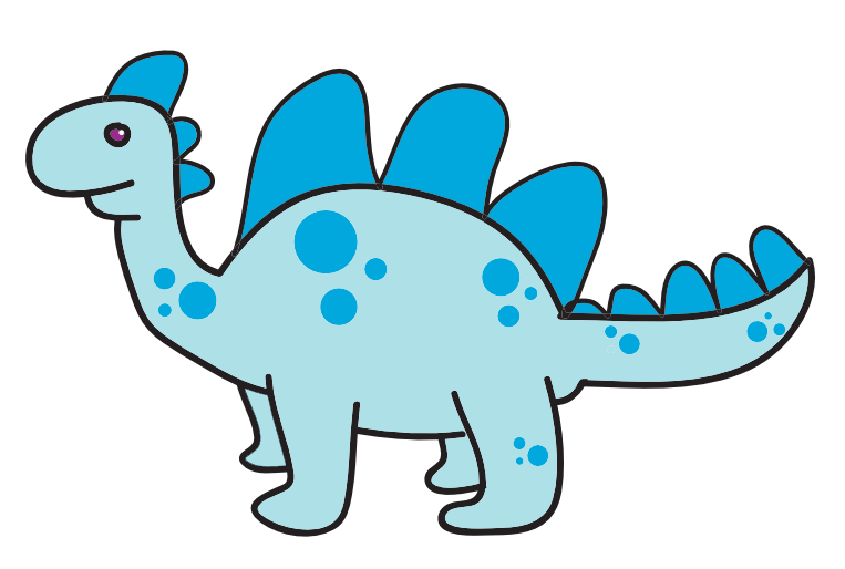 Dinosaur clipart simple. Blue