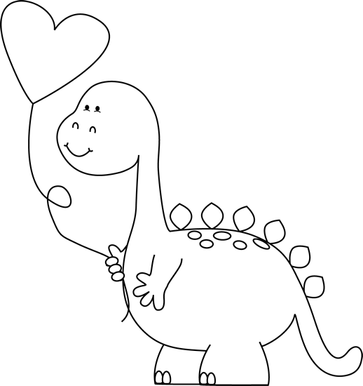 Dinosaur clipart valentine. Black and white with