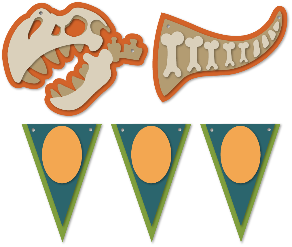 Dinosaur bones flags snapdragon. Dinosaurs svg banner picture library stock