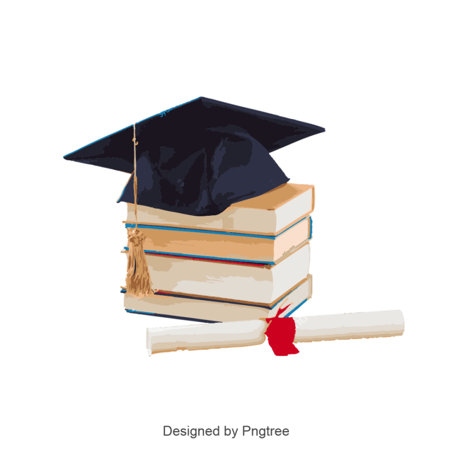 Birrete vector de graduacion. Graduation hat and book