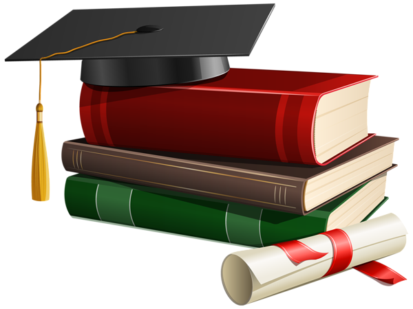 Diploma clipart transparent background. Graduation cap books and