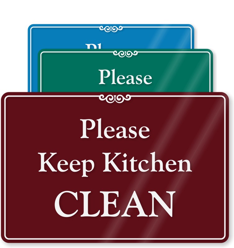 Cafeteria clipart clean. Kitchen signs courtesy at