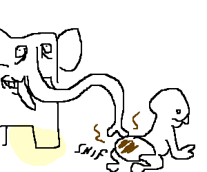 Dirty drawing. An elephant sniffs out
