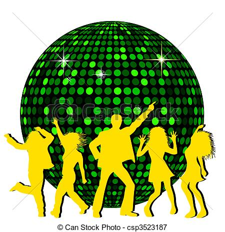 Disco clipart. Ball and dancing people clipart freeuse library
