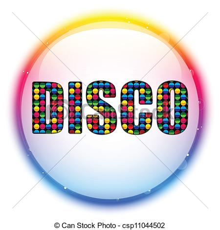 Disco clipart. Vector glass circle color banner black and white