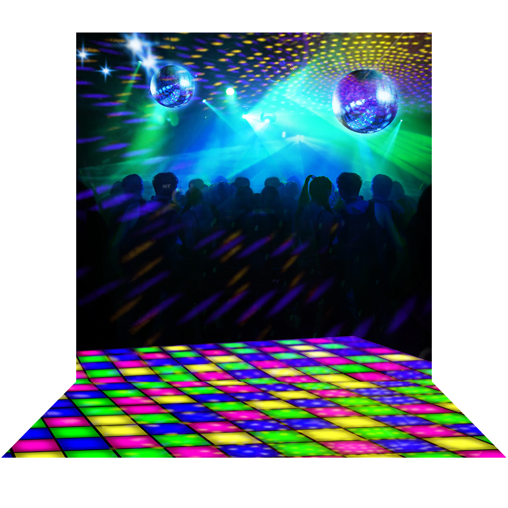 Disco dance floor png background. Party with multi colored