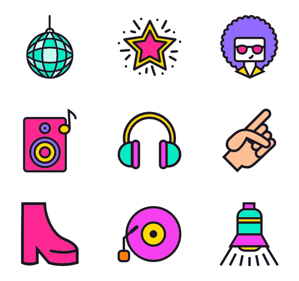 Disco vector party. Icons free music collection