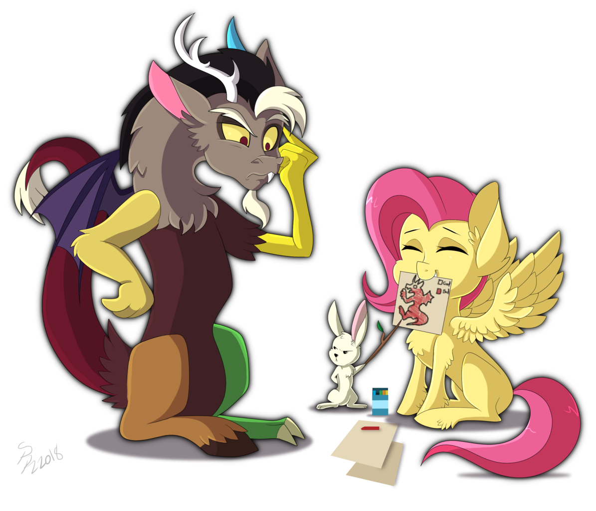 discord drawing fluttershy