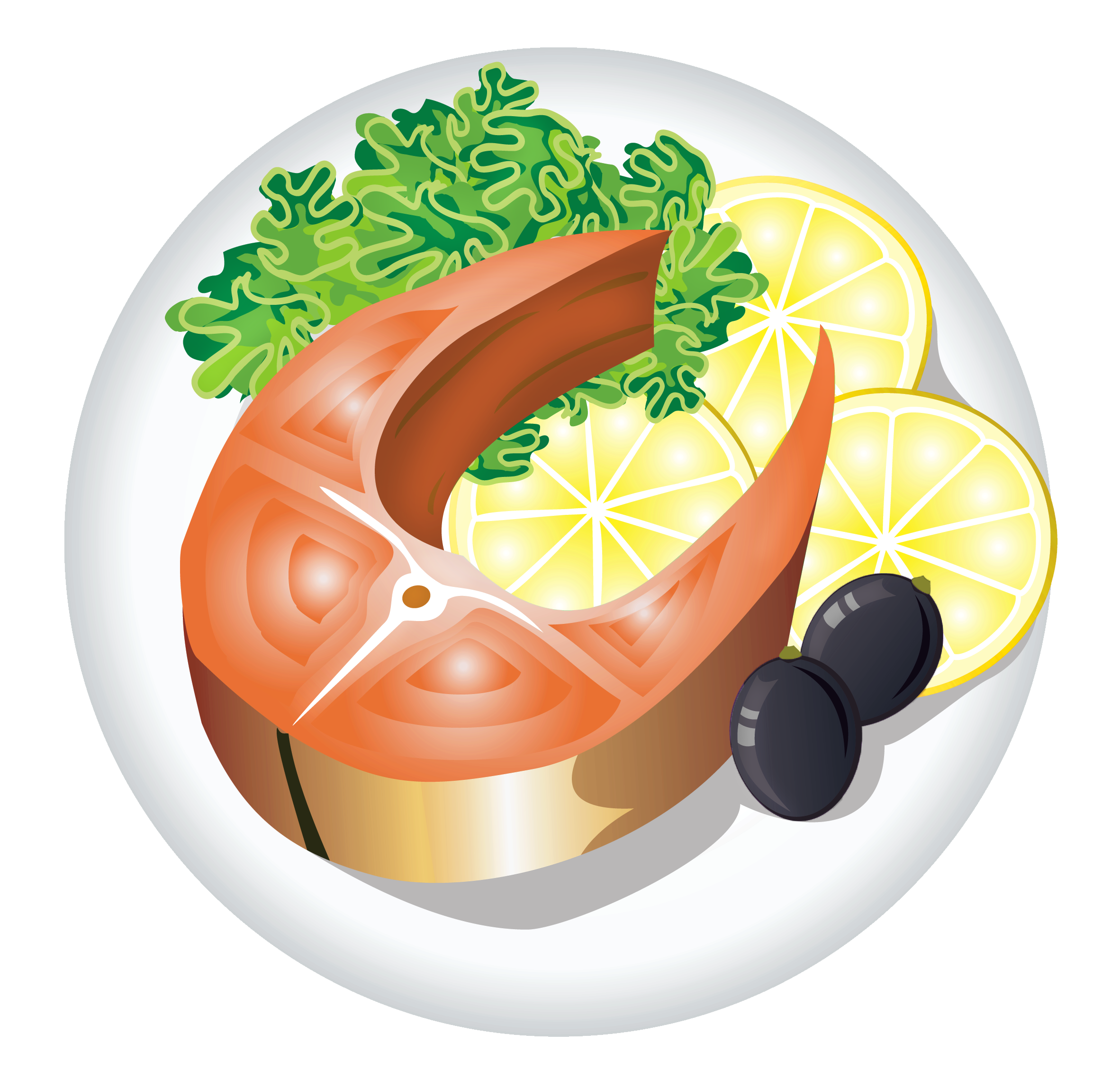 Dish clipart. Fish with lemon png