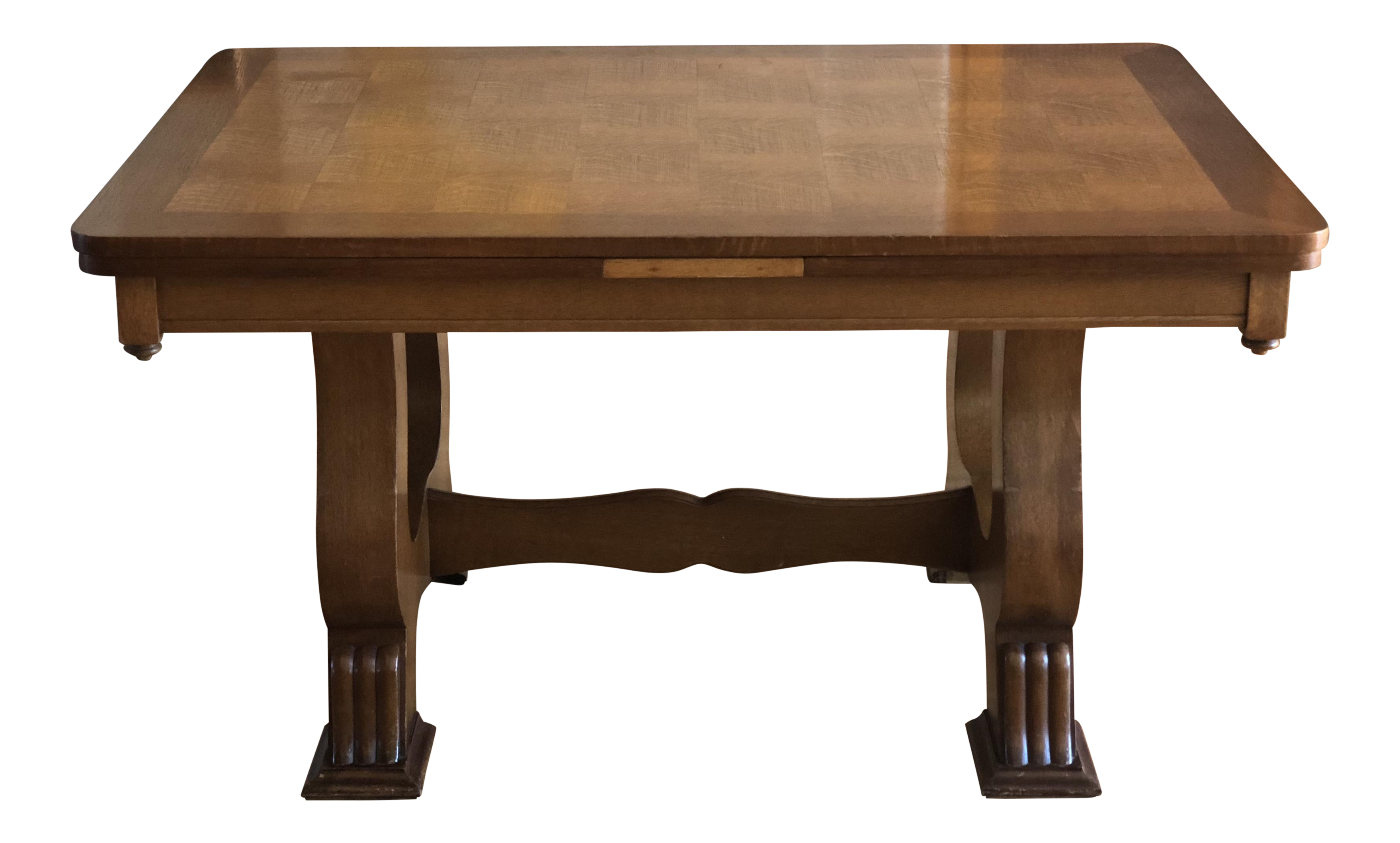 Dishes drawing dining table. Oak french provincial parquet