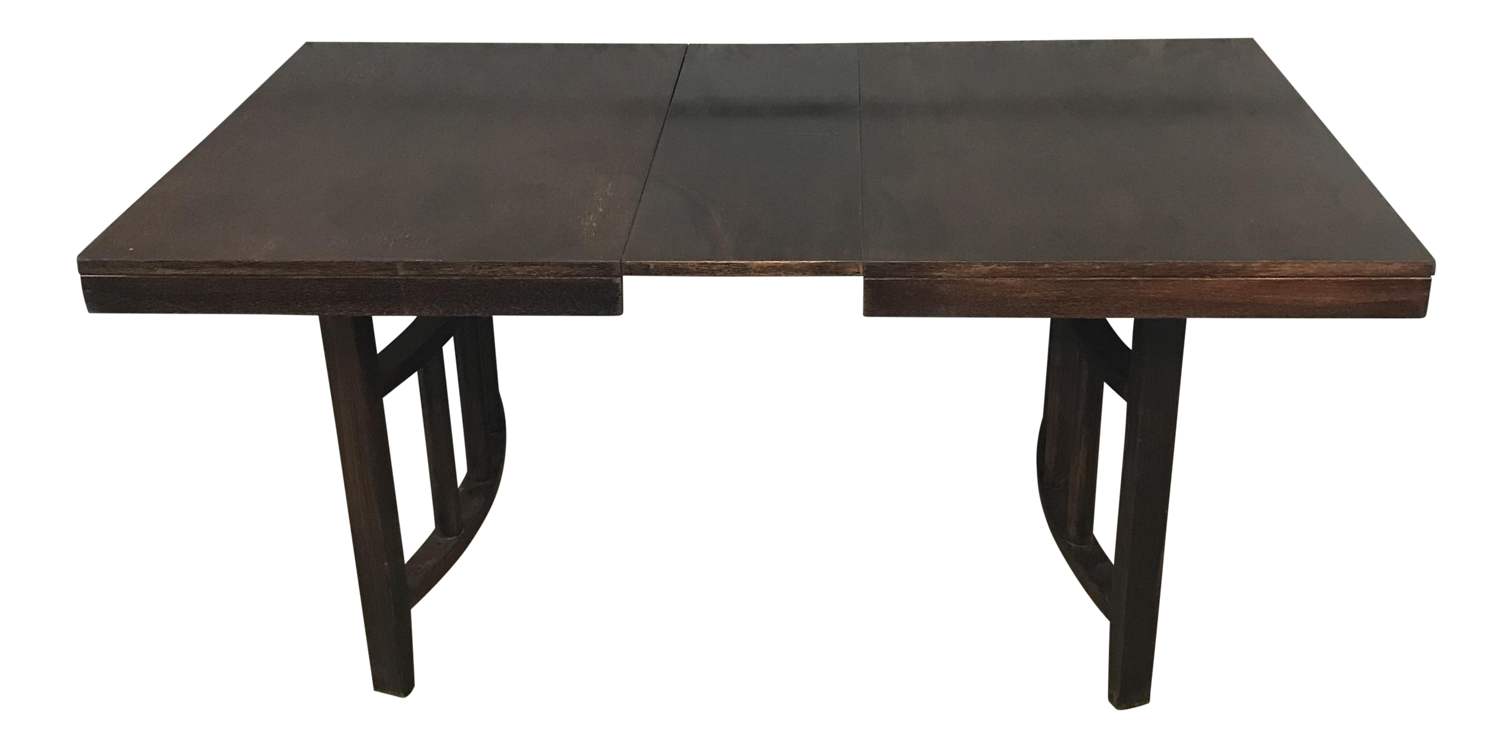 Dishes drawing dining table. Red mahogany stained wood