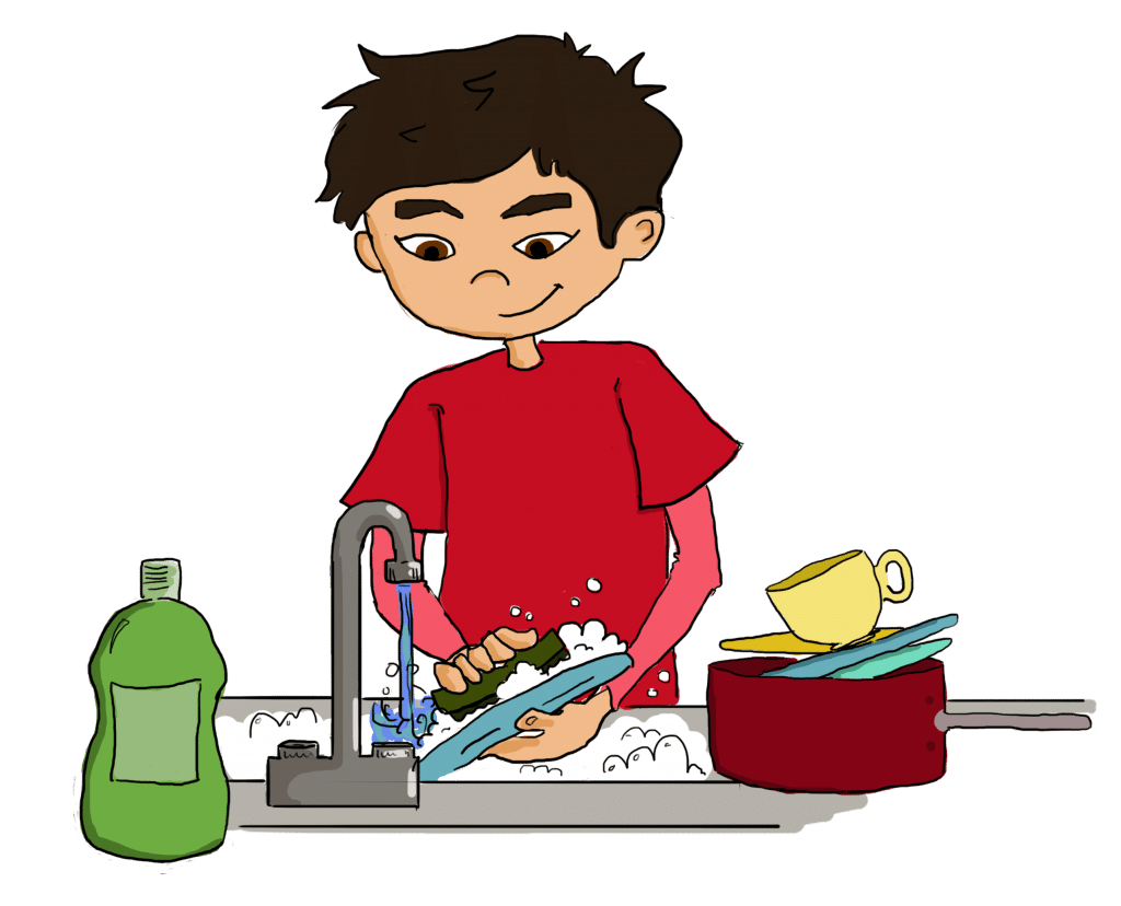 Dishes drawing kid. Kids doing clip