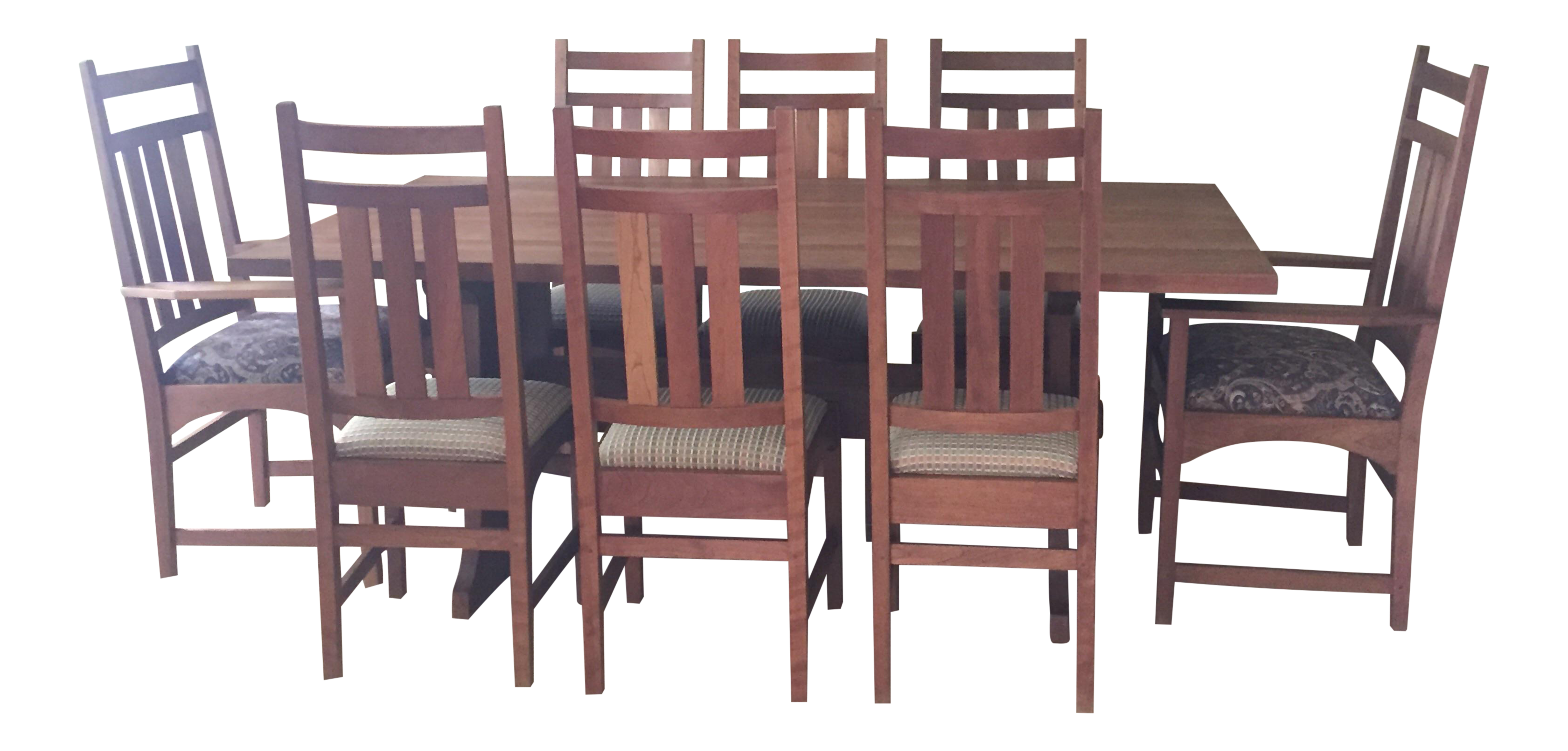 Dishes drawing kitchen table. Stickley mission cherry dining