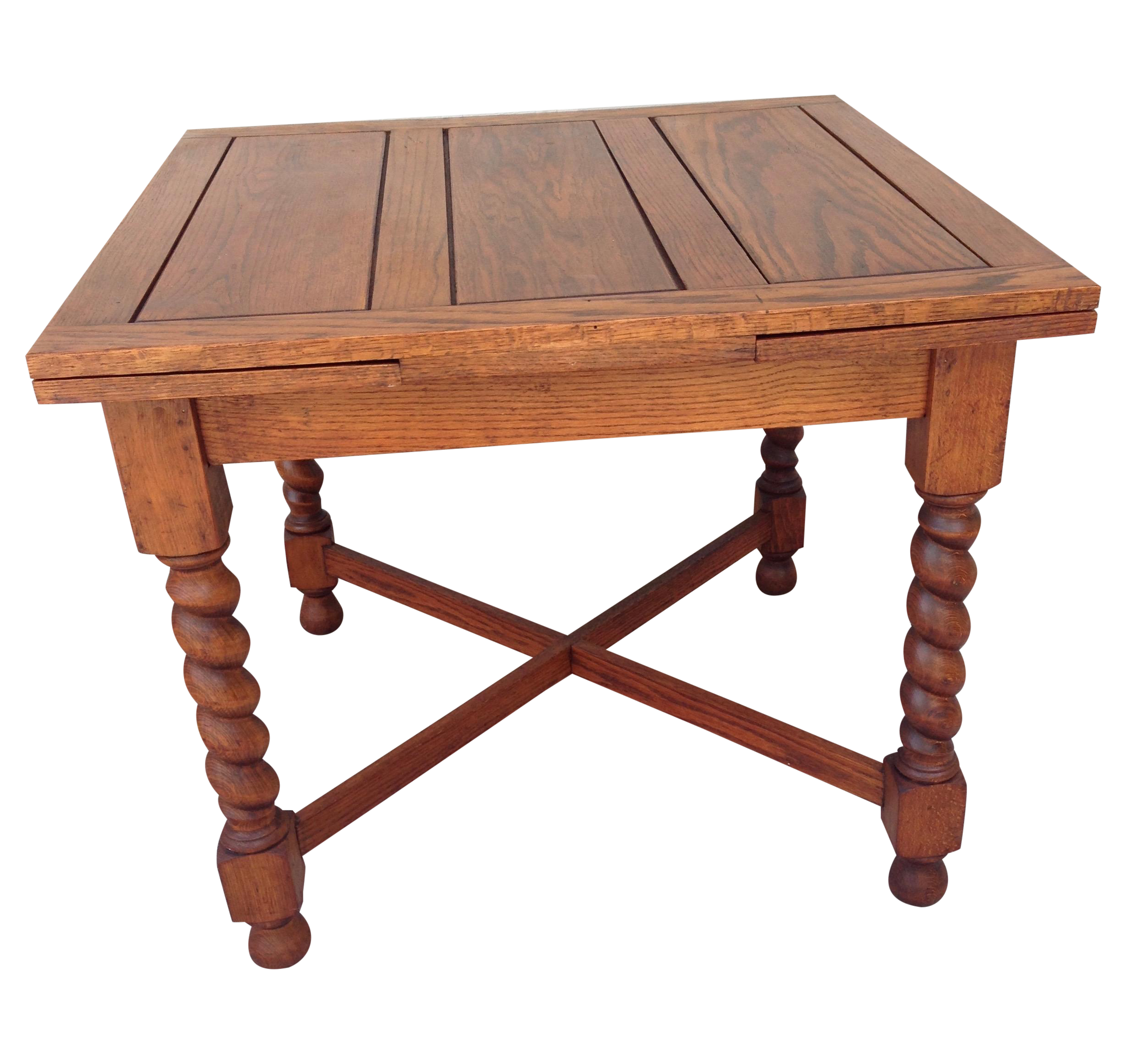 Dishes drawing kitchen table. Antique oak barley twist
